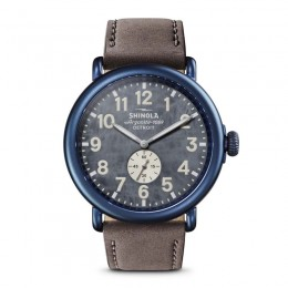 Runwell Sub Second 47mm, Heather Gray Leather Strap Watch