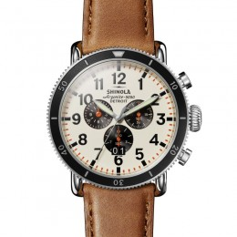 Runwell Sport 3 Eye Chrono  48mm, Bourbon Leather