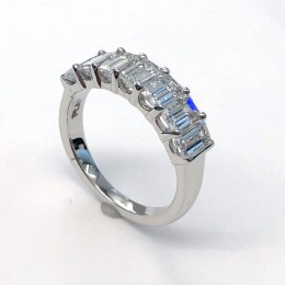 Platinum Seven stone Emerald-cut diamond ring